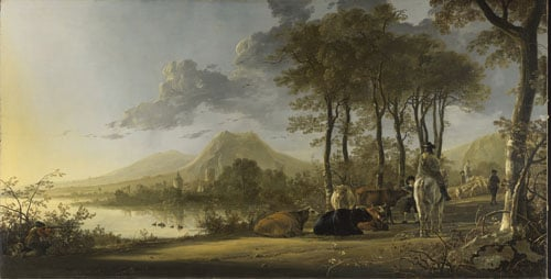 River Landscape with Horsemen and Peasants