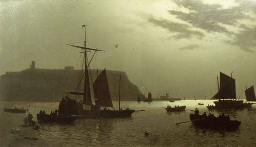 Scarborough, Castle Hill and Harbour by Moonlight