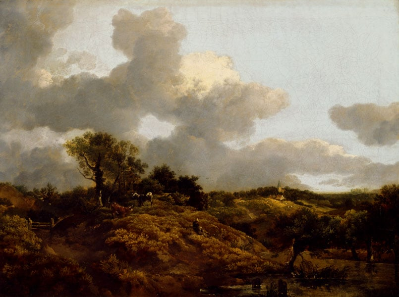 Wooded Landscape with Herdsmen seated on a Bank near a Pool