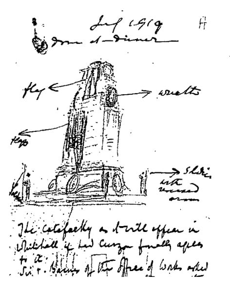 Five sketches for The Cenotaph and one letter