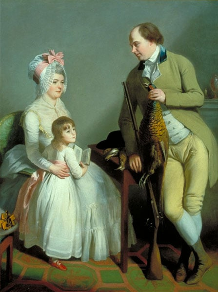 Portrait of Mr and Mrs John Custance of Norwich and their daughter Frances