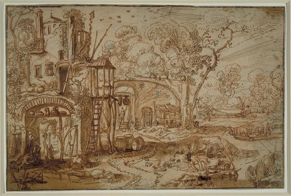 A Farmhouse on the Banks of a River with Herdsman on a Ferry