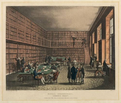 Portman Square in 1813 & Royal Institution, Interior of the Library