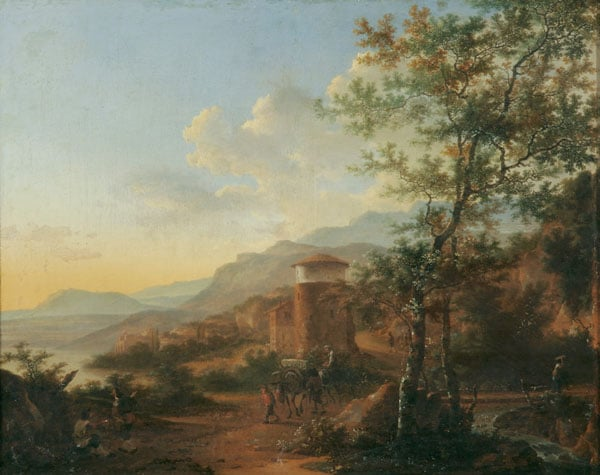 A Southern Landscape with Muleteers on a Roadway