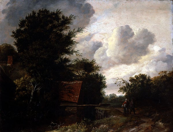 A Sluice-Wooded Landscape with Figures on a Path