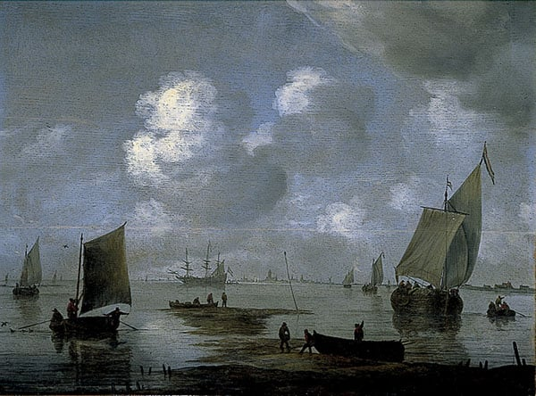 Estuary Scene with Shipping- figures in the foreground