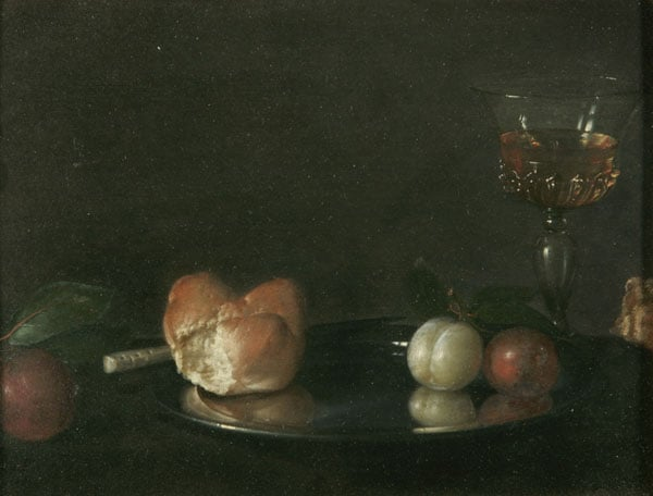 Still Life with Loaf of Bread, Wine and Plums