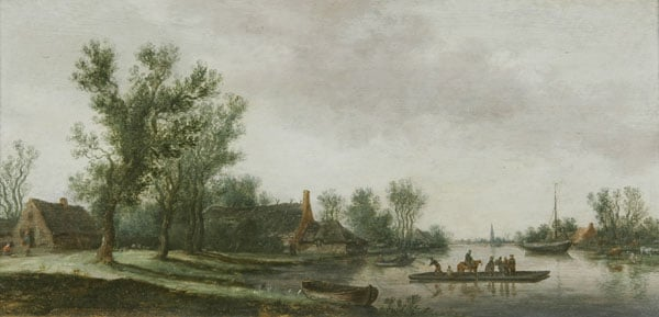 River Landscape with Ferry Boat and Cottage