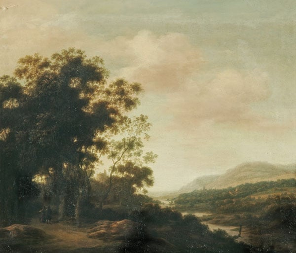 An Extensive River Landscape with Figures on a Road, a Wood to the Left