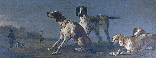 Four Hounds with Gentlemen Shooting