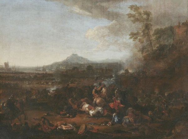 A Cavalry Skirmish in a Mountaineous Landscape