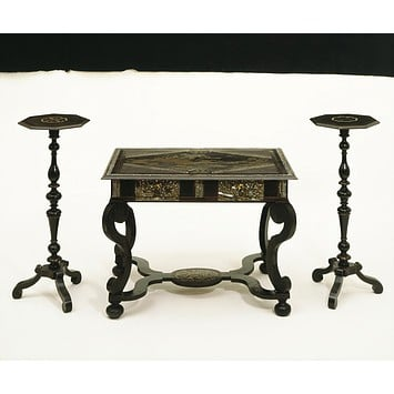 Table, mirror and candlesticks