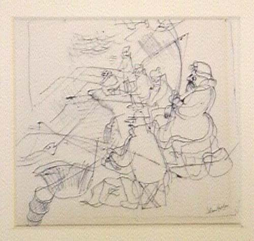 One painting, four drawings and fourteen engravings
