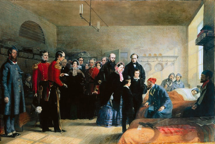 The Queen Victoria's First Visit to Her Wounded Soldiers