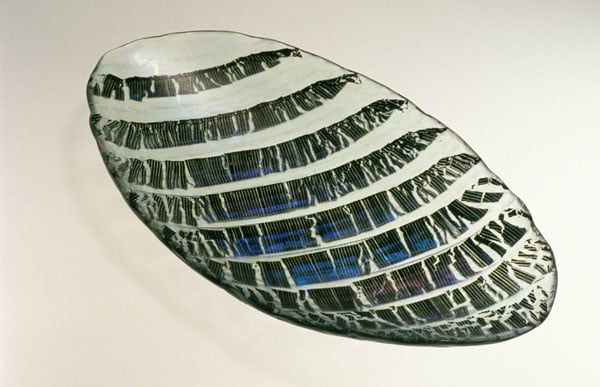 Opalescent glass bowl: 'Fragmented Stripe'