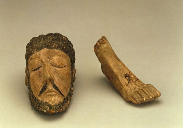 Two fragments of a crucifix