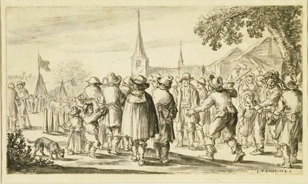 Skittle-Players and Bystanders amongst a Crowd in a Village Square