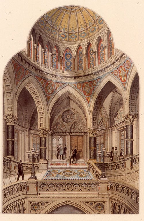 View of the Staircase- Proposed Town hall, Bradford
