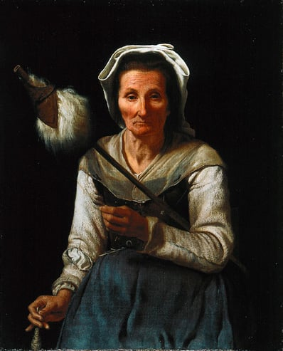 An Old Woman Spinning, Seated, facing to Front