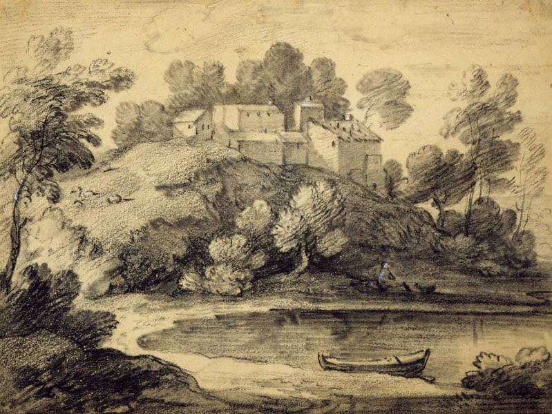 Wooded Landscape with Buildings, Lake and a Rowing Boat
