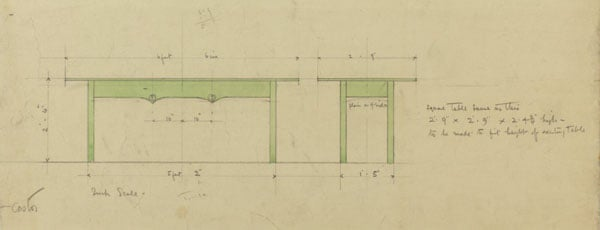 Design for dining table; 120 Mains Street, Glasgow