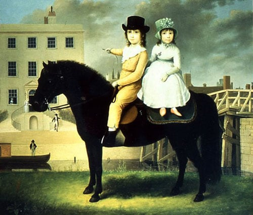 Portrait of Wright Thomas Squire and His Sister Charlotte on a Black Pony