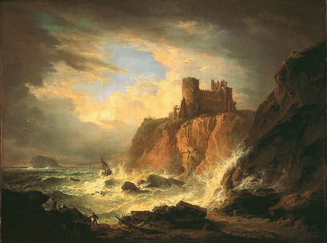 View of Tantallon Castle With the Bass Rock