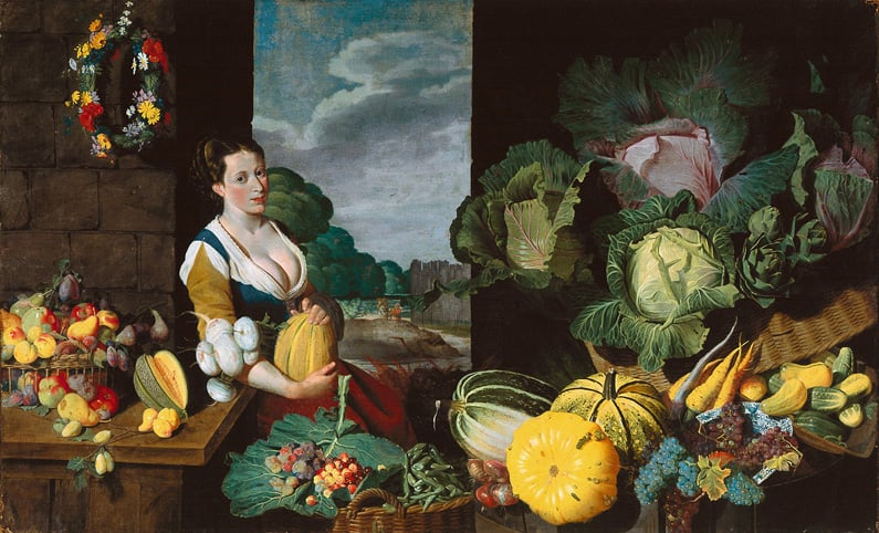 Cookmaid with Still Life of Fruit and Vegetables