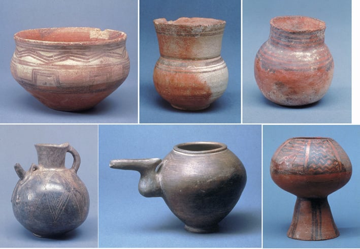 Six pottery vessels from ancient Iran