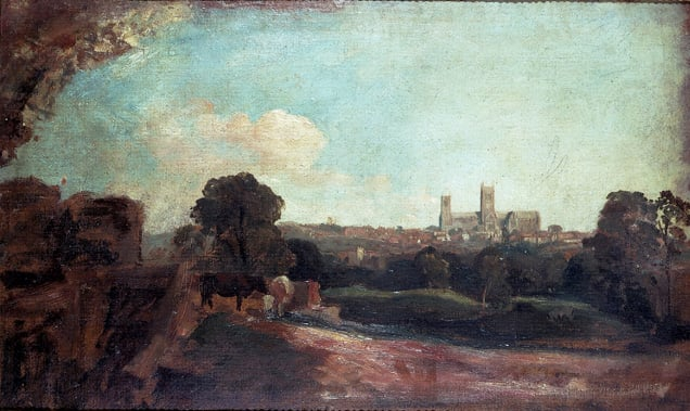 1) A View of Lincoln from the South at Little Bargate; 2) Drover at the Edge of a Wood, Lincoln in the Distance
