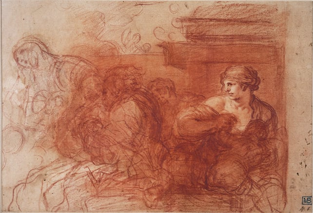 Figures by the Base of a Column (recto) & Study of a Nude (verso)