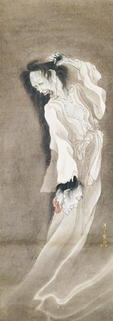 Female Ghost carrying off a Male Severed Head