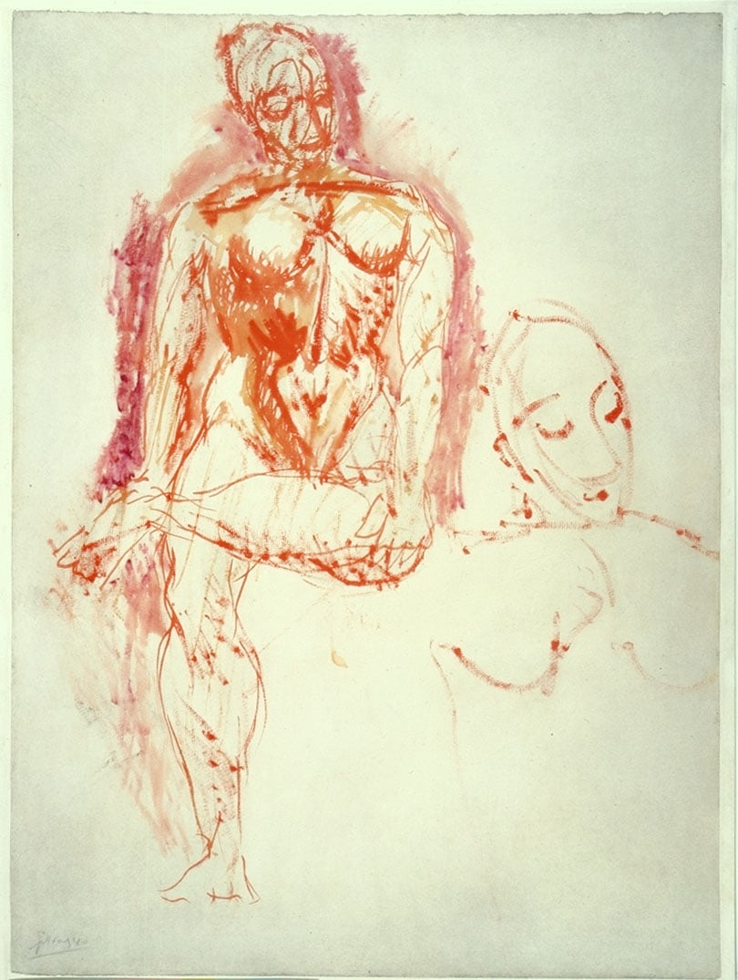 Study of a Seated Nude and Head of a Woman for the painting 'Les Demoiselles d'Avignon'
