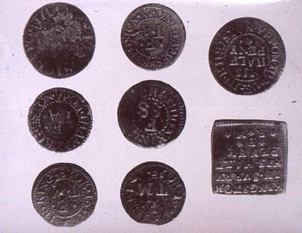 Collection of 16 trader's tokens
