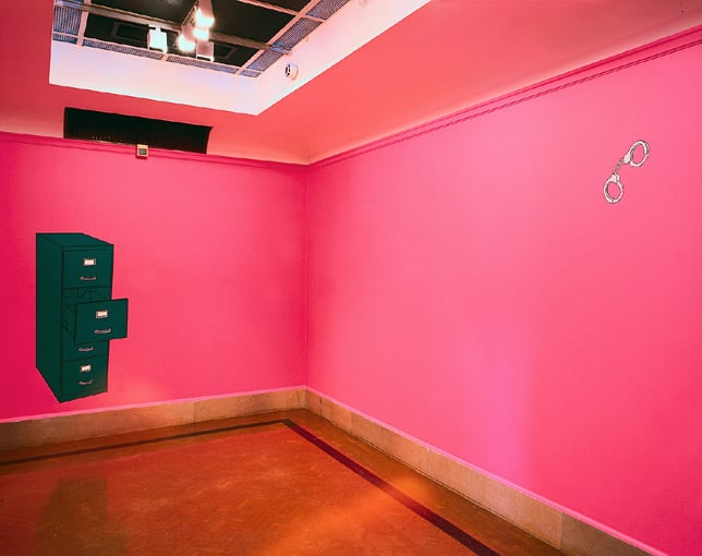 Pink Room with Handcuffs and Filing Cabinet