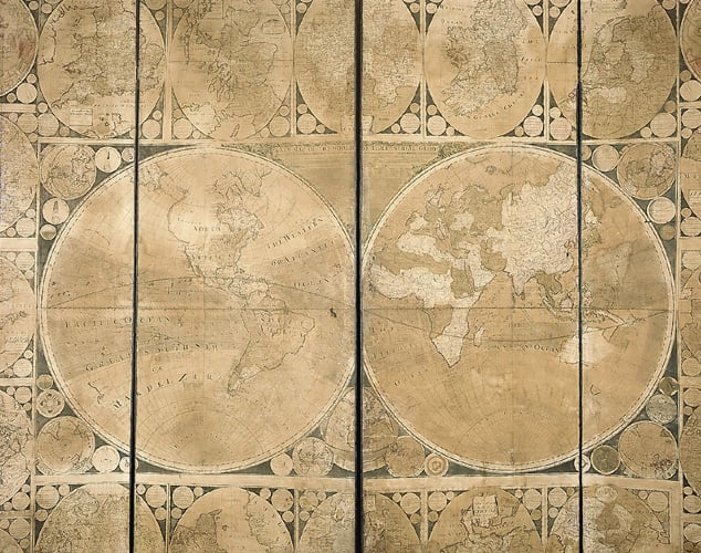 Four-fold map screen with 21 engraved maps