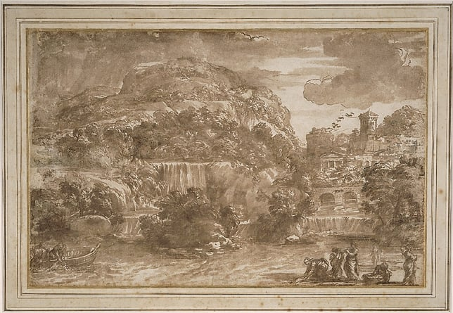 Landscape with Fishermen and Washerwomen by a Cascade