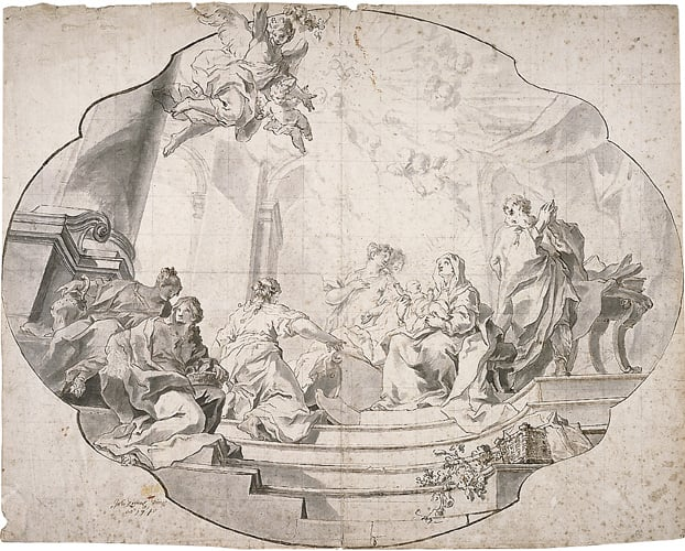 Design for a ceiling panel with the Holy Family and angels