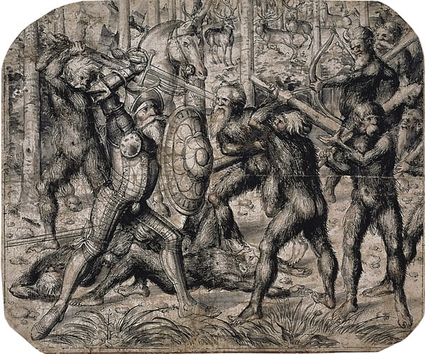 Armoured knight fighting wild men in a wood