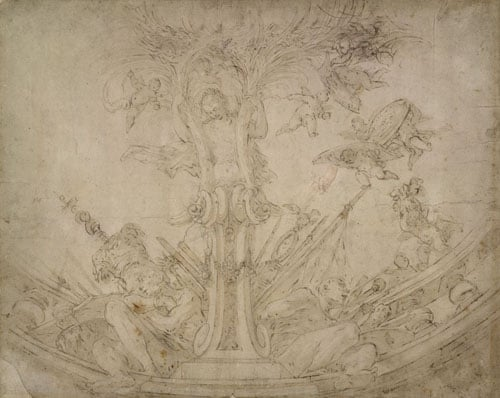 Study for a ceiling decoration with prisoners and trophies