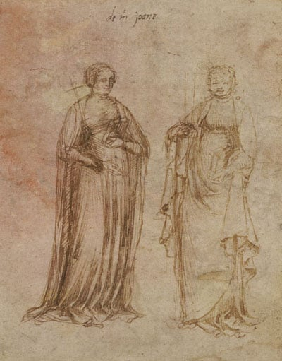 Two standing female saints