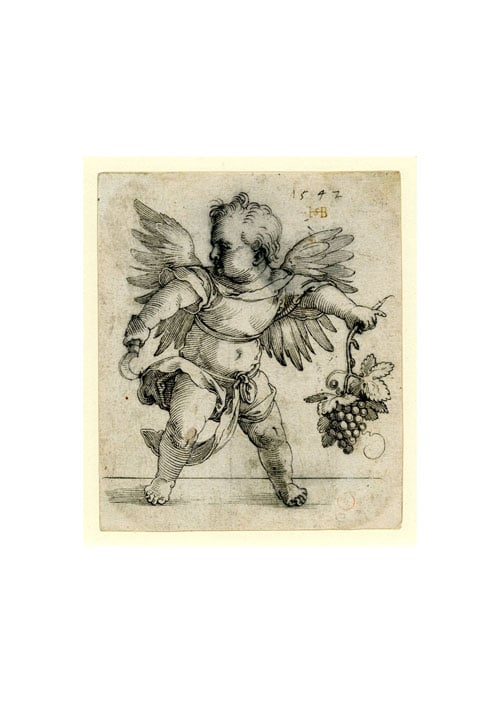 A putto holding a sickle and a bunch of grapes