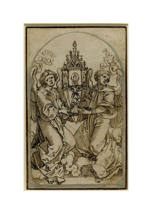 Two angels holding a monstrance