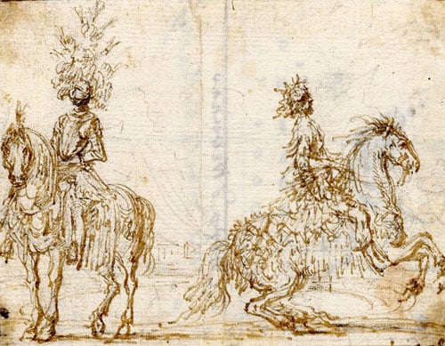 Two riders on horseback, in theatrical costume