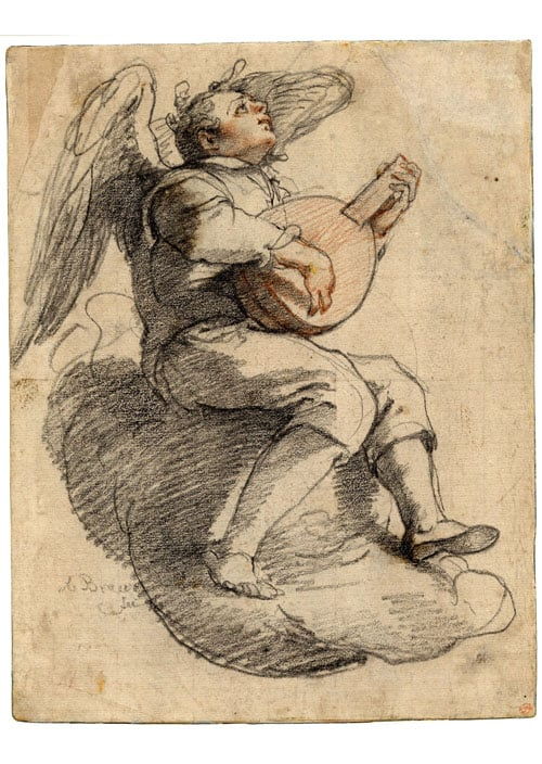 Angel seated on a cloud playing a lute