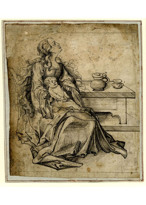 The Virgin and Child seated by a table