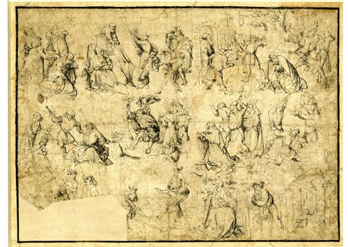 Studies of 8 scenes of martyrdom, St Christopher, and Birth of Christ