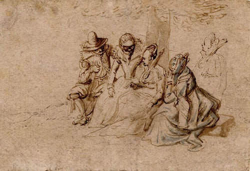 Drawing of a man and three ladies