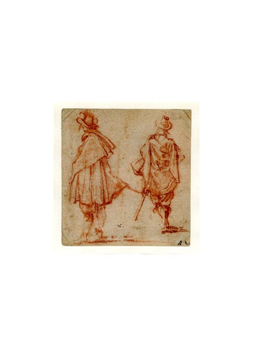 Two standing cloaked male figures