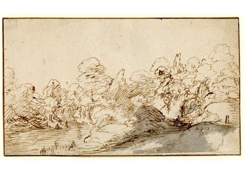 Wooded landscape with figures on a path
